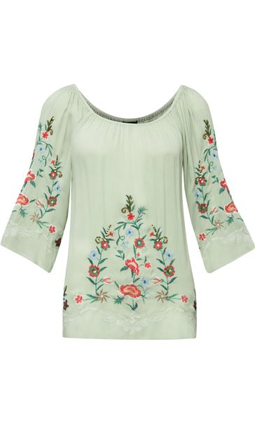 Embroidered Bardot Crinkle Top Sage/Multi