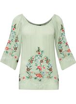 Embroidered Bardot Crinkle Top Sage/Multi - Gallery Image 1