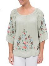 Embroidered Bardot Crinkle Top Sage/Multi - Gallery Image 2