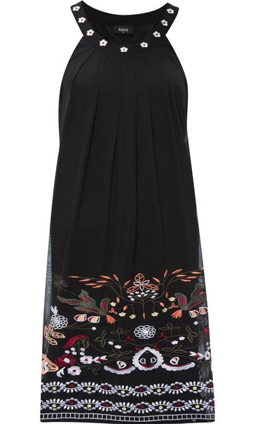 Embroidered Sleeveless Chiffon Midi Dress Black/Multi