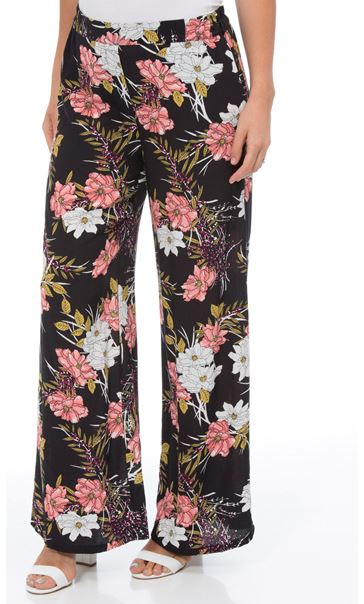 Floral Printed Wide Leg Trousers Black/Multi