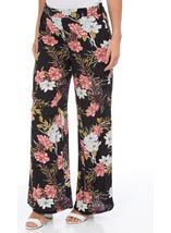 Floral Printed Wide Leg Trousers Black/Multi - Gallery Image 1