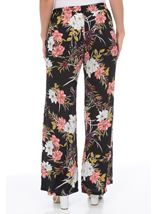 Floral Printed Wide Leg Trousers Black/Multi - Gallery Image 2