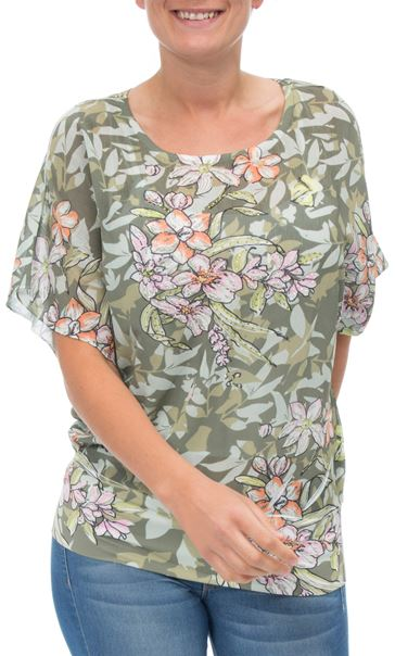 Print And Embellished Short Sleeve Top Sage Green