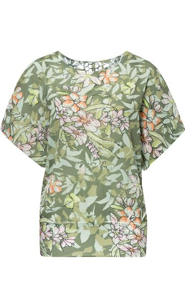 Print And Embellished Short Sleeve Top Sage Green - Gallery Image 2