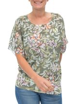 Print And Embellished Short Sleeve Top Sage Green - Gallery Image 1
