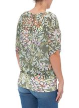 Print And Embellished Short Sleeve Top Sage Green - Gallery Image 3