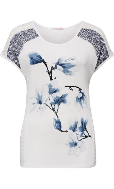 Anna Rose Short Sleeve Print Top White/Grey