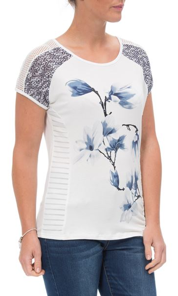 Anna Rose Short Sleeve Print Top White/Grey - Gallery Image 2