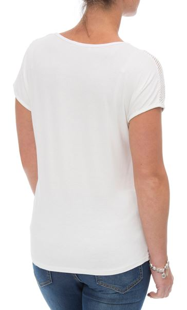 Anna Rose Short Sleeve Print Top White/Grey - Gallery Image 3