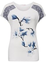 Anna Rose Short Sleeve Print Top White/Grey - Gallery Image 1