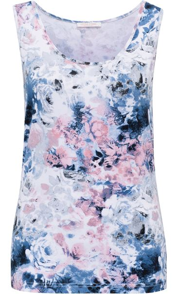 Anna Rose Floral Printed Vest Top Pink/Blue