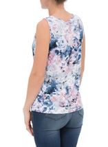 Anna Rose Floral Printed Vest Top Pink/Blue - Gallery Image 3