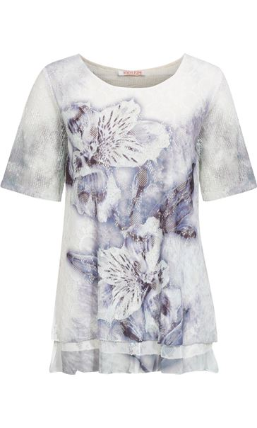 Anna Rose Layered Lace Short Sleeve Printed Top White/Blue