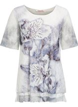 Anna Rose Layered Lace Short Sleeve Printed Top White/Blue - Gallery Image 1