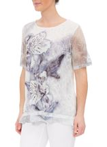 Anna Rose Layered Lace Short Sleeve Printed Top White/Blue - Gallery Image 2