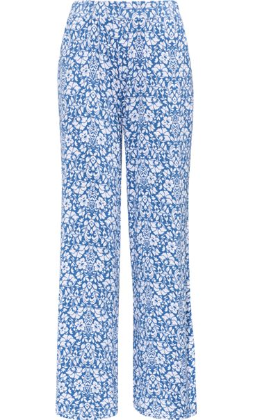 Anna Rose Printed Jersey Pull On Trouser Blue/White