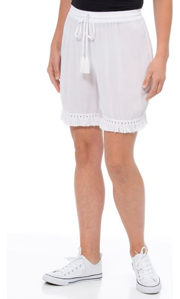 Crinkle Pull On Shorts White