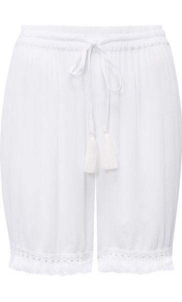 Crinkle Pull On Shorts White - Gallery Image 3