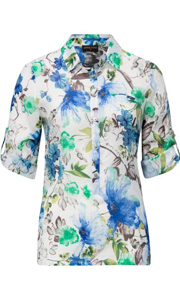 Anna Rose Cotton Blend Print Top White/Green/Blue