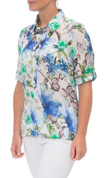 Anna Rose Cotton Blend Print Top White/Green/Blue - Gallery Image 2