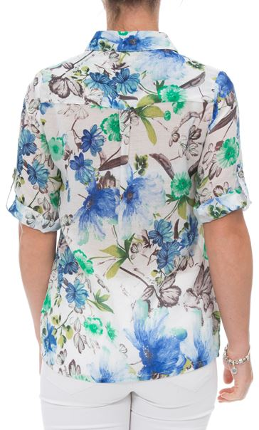 Anna Rose Cotton Blend Print Top White/Green/Blue - Gallery Image 3