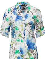 Anna Rose Cotton Blend Print Top White/Green/Blue - Gallery Image 1