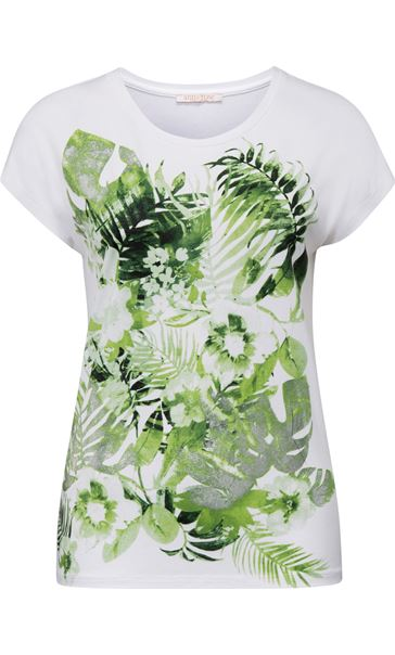 Anna Rose Leaf Print Short Sleeve Jersey Top White/Green