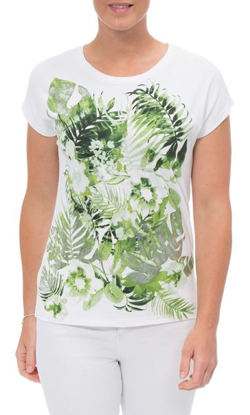 Anna Rose Leaf Print Short Sleeve Jersey Top White/Green - Gallery Image 2