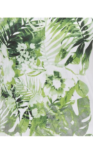Anna Rose Leaf Print Short Sleeve Jersey Top White/Green - Gallery Image 4