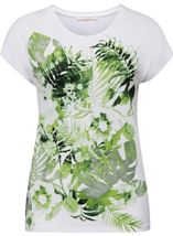 Anna Rose Leaf Print Short Sleeve Jersey Top White/Green - Gallery Image 1