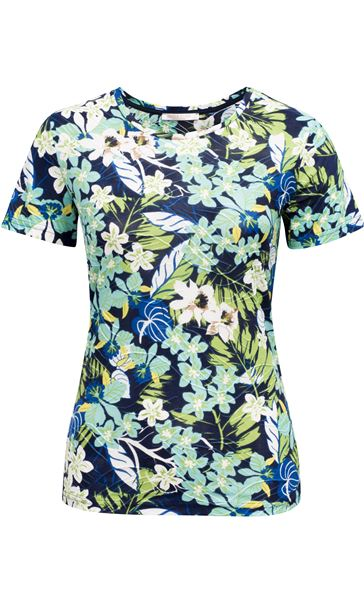Anna Rose Textured Print Round Neck Top Navy/Green Multi