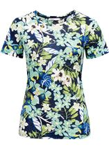 Anna Rose Textured Print Round Neck Top Navy/Green Multi - Gallery Image 1