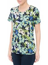 Anna Rose Textured Print Round Neck Top Navy/Green Multi - Gallery Image 2