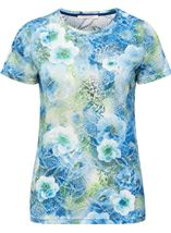 Anna Rose Floral Printed Short Blue/Green - Gallery Image 1