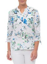 Anna Rose Floral Blouse With Necklace White/Green - Gallery Image 1