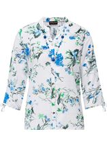 Anna Rose Floral Blouse With Necklace White/Green - Gallery Image 4