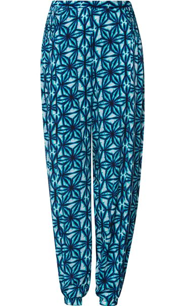 Printed Elasticated Cuff Trousers Check
