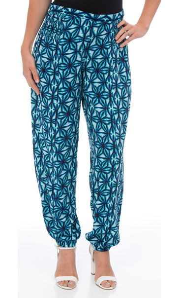 Printed Elasticated Cuff Trousers Check - Gallery Image 2