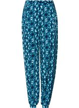 Printed Elasticated Cuff Trousers Check - Gallery Image 1