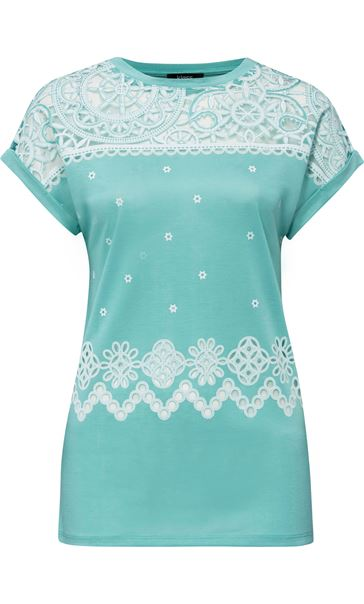 Embroidered Short Sleeve Jersey Top Caribbean