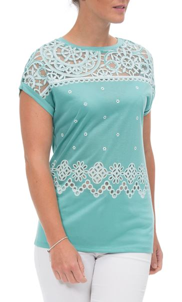 Embroidered Short Sleeve Jersey Top Multi - Gallery Image 2