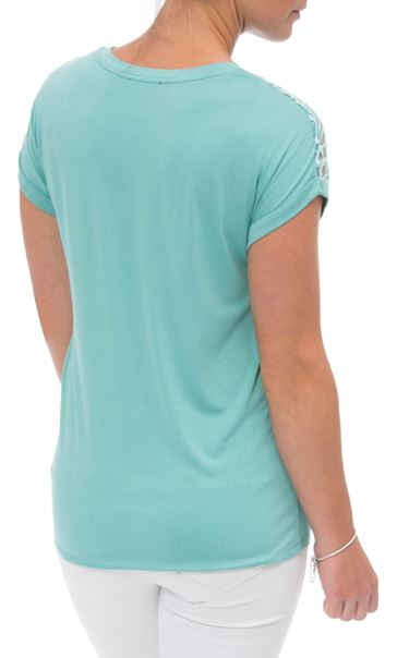 Embroidered Short Sleeve Jersey Top Multi - Gallery Image 3