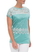 Embroidered Short Sleeve Jersey Top Caribbean - Gallery Image 2