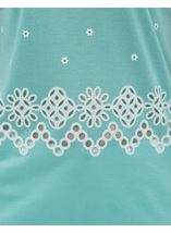 Embroidered Short Sleeve Jersey Top Caribbean - Gallery Image 4