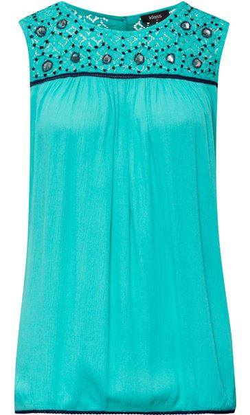Sleeveless Lace Trim Top Caribbean