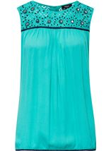 Sleeveless Lace Trim Top Caribbean - Gallery Image 1