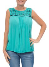 Sleeveless Lace Trim Top Caribbean - Gallery Image 2