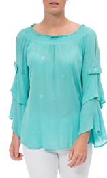 Boho Three Quarter Bell Sleeve Smocked Top Caribbean - Gallery Image 2