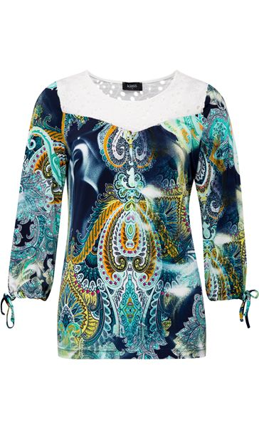 Paisley Printed Three Quarter Sleeve Top Navy/Aqua